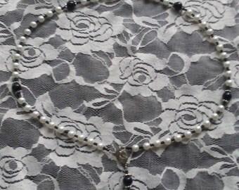 Handmade Rosary. Black and White.