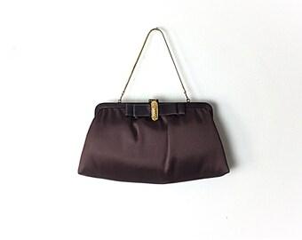 Brown Clutch, vintage brown Formal bag, brown evening bag, satin clutch,  50s Formal Bag,  Evening Bag, Vintage Black Clutch