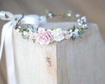 Blush flower crown, flower crown, floral halo, floral crown,baby flower crown,bridal crown, maternity crown, flower girl crown, boho wedding