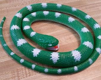 SALE Vintage Rubber Snake Green Coiled Gag 1993