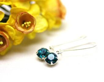 Estate Swarovski Crystal Earrings in Blue Zircon on Silver   Sparkly, Minimal Drop Earrings   Rich, Deep Teal Blue   Handmade by Azki