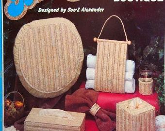 Bath Boutique By Soo-Z Alexander Vintage Needlepoint/Plastic Canvas Basketry Pattern Leaflet 1983