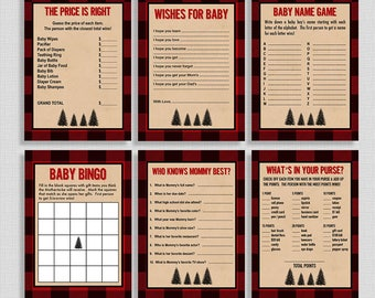 Lumberjack Baby Shower Games Package, Six Baby Shower Games Bundle, Red Flannel Plaid, Baby Boy, INSTANT PRINTABLE