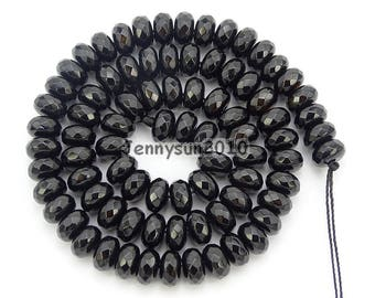 Natural Black Onyx Gemstones 4mm x 6mm 5mm x 8mm Faceted Rondelle Spacer Loose Beads 15'' Strand Jewelry Design