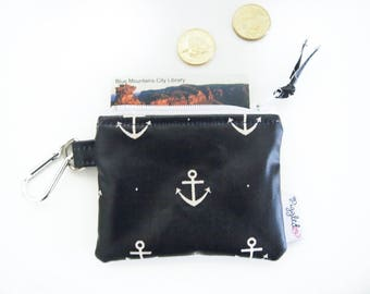 Kids' Oilcloth Coin Purse / Mini Wallet - Navy Blue Anchors