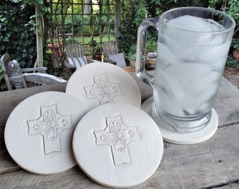 Dogwood Cross Drink Coasters, Absorbent Coasters, Cross, Hostess Gifts, Room Decor, Office, Home Decor
