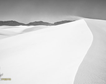 Black and White Wall Art, Minimalist Photography, Black and White Photography, Elegant Art, White Sands, Sand Dunes, New Mexico
