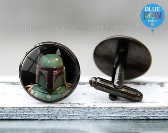 Mens Boba Fett Cufflinks Star Wars Superhero Geekery Comic Nerd Movie Tie Bar for Man Personalized Geekery Gifts Wedding Cuff link for dads