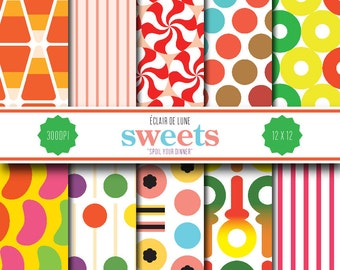 Digital Scrapbook Papers Candy Sweets