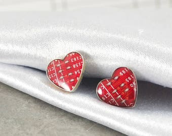 Red Heart Post Earrings, Circuit Board Earrings, Sterling Silver Stud Earrings, Wearable Technology, Geeky Valentines Day Gift, Anniversary