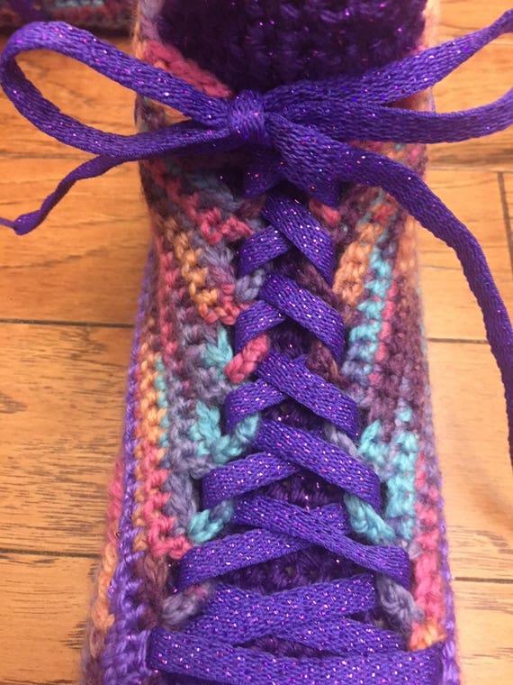 8 slippers 10 shoes Shoe crochet 192 Slippers Sneaker house crocheted Crocheted flower shoes slippers tennis sneakers Size purple Tennis TwqCXC