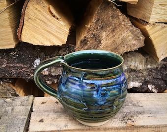 Pottery mug,pottery cup ,ceramic   Green  stoneware