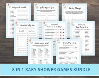 Elephant Baby Shower Games Bundle, Package Deal, Printable, Mommy or Daddy, Nursery Rhymes, Name that Baby Tune, Baby Bingo, Name Race, BG05
