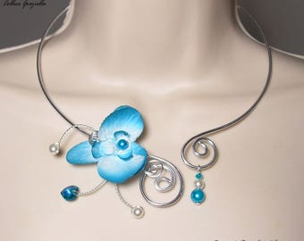 Bridal necklace turquoise Orchid - Collection Amor Graziella - romantic wedding necklace, Orchid wedding jewelry,