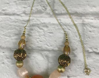 Beaded Chunky Gold Tone Chain Necklace