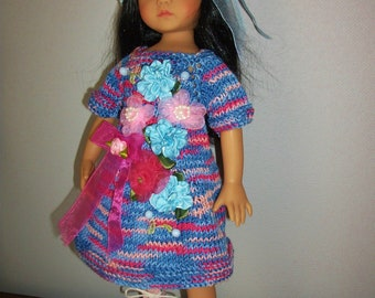 "Doll clothes Little darlings Dianna Effner, 33cm 14 ""ombre handloom cotton + Hat knitted dress"
