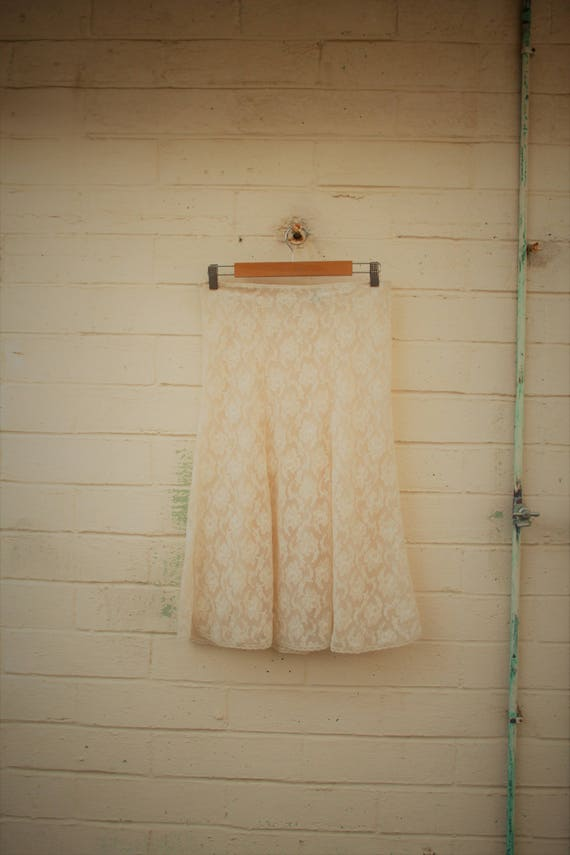 Medium Vintage 60s Glydons Sheer lace skirt/Bohomian Skirt/Earth Fairy Skirt/Hippie skirt/retro skirt/White Rose layered skirt/Lucysroom