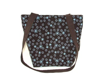Brown Purse, Small Tote Bag, Blue Circles, Retro Atomic Starburst, Fabric Handmade Handbag, Teen Purse, Cloth Shoulder Bag