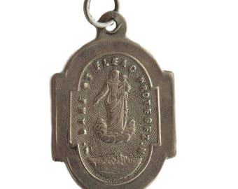 Our Lady of Fleac - Antique French Religious Sterling Silver Medal Pendant Charm - 19th