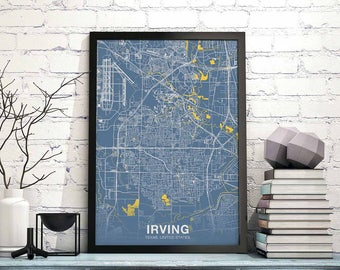 Irving map Etsy