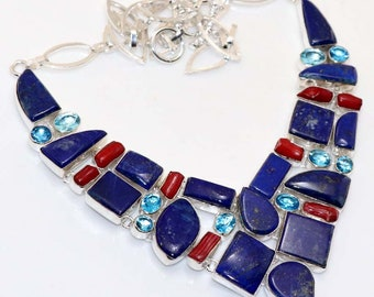 Lapis Lazuli , Coral , Topaz Quartz Handmade 925 Silver plated Necklace Jewelry