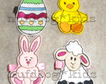 Easter HAIR CLIPPIES set of 4 with PDF Instructions Machine Embroidery Applique 4x4 hoop Bunny Lamb Chick Egg