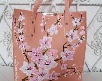 Hand Painted Bag, Sakura Bag, Feminine Bag, Hanpainted Coral Pink Handbag, Cherry Blossoms Bag, Sakura Shoulder Bag, Coral Bag, Sakura Art