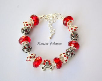 Silver Plated Red Crystal Beaded European Charm Bracelet With Carriage.