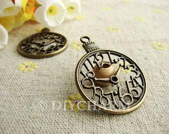 Antique Bronze Filigree Clock Charms 30x39mm - 5Pcs - DC22905