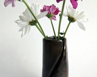 Small smoke fired ceramic vase