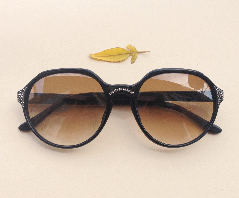 80er Jahre Strass Sonnenbrillen / Vintage Deadstock schwarz