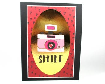 Best friends card, camera card, smile card, friendship card, card for best friend, thinking of you card, I love you card