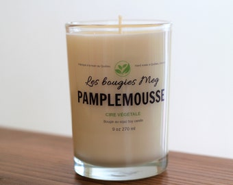Grapefruit, candle Soy Candle is handmade, grapefruit, soy candle, candle, homemade, vegan, glass jar, clear glass
