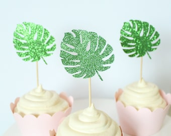 Palm Leaf Cupcake Toppers - Palm Frond - Palm Party Decor - Tropical Cupcake Toppers - Summer Party Decor - Summer Cupcake Toppers