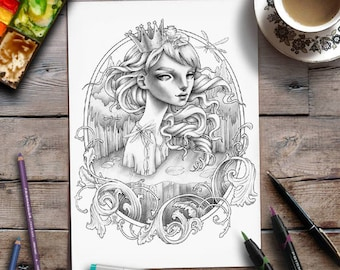 Printable Coloring Page | Grayscale | Frog Prince Fairytale illustration | Zan Von Zed