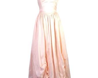 vtg 70s 80s Light Peach White Striped Tafetta Prom Dress Big Bow Tie Off sz S