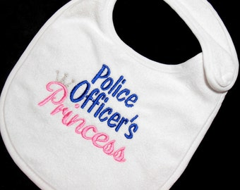 Baby Girl Bib, Police Baby, 6 Mo to Toddler, State Trooper, Police Sheriff, Princess, Baby Shower, LEO Baby Gift, Thin Blue Line, Cotton Bib