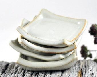 Ceramic Condiment Dishes Cream White Handmade Ring Dish Candle Holder Trinket Set of Four Wedding Decor