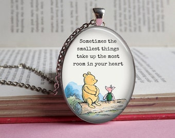 Silver or bronze oval Winnie The Pooh & Piglet 'Smallest things' glass dome pendant necklace (friendship friend love)