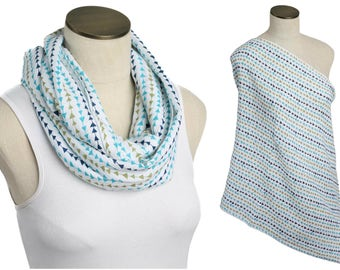 SALE! Blue & Green Arrows 100% Cotton Muslin Gauze Hold Me Close Nursing Scarf - Nursing Cover - Infinity Scarf - Nursing Poncho