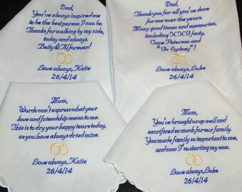 Personalized Handkerchiefs, Set of 4 - Personalized Parents of Bride and Groom Wedding Handkerchiefs  - Custom Emboirdered Handkerchiefs