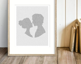 Pride and Prejudice Art Print, Jane Austen Wall Art, Bookish Gift, Pemberley, Elizabeth and Mr. Darcy, Literary Gifts, Text Art (US)