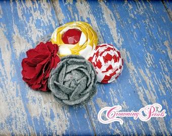 Red, Mustard, Grey Headband, Circus Hair Accessories, Clip, Flower Hair Bow, Infant, Newborn, Baby Girl's Headband, Fabric Flowers, Brooch