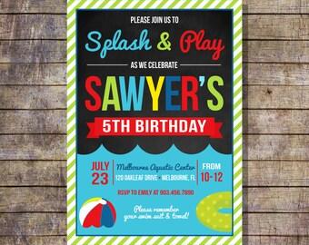 Printable Kids Pool Party Invitation Children's Birthday Invitation Gender Neutral Summer Birthday Invitation PDF Swimming Birthday invite