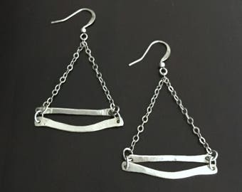 Rustic Handmade Hammered Silver Triangle Earrings
