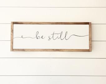Be still, wood sign, pray sign, scripture sign