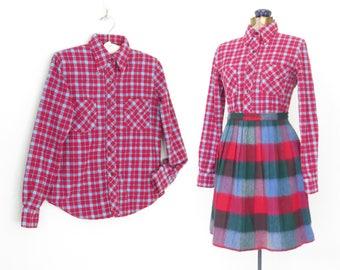 plaid flannel shirt * 50s plaid blouse * vintage 1950s shirt * small