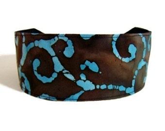 Bargain Headbands, Turquoise Swirls  on a Chocolate Background Batik Style Fabric, beautiful Headband