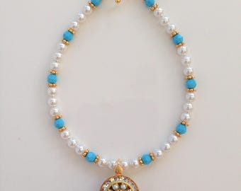 Swarovski Turquoise, Pearl, and Crystal Charm Bracelet