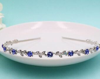 Bridal Headband, Swarovski crystal rhinestone wedding headband, vine headband, wedding headband headpiece, blue, red, Lauren Blue Headband